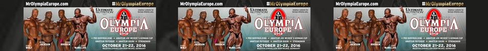 2016 Joe Weider's Olympia Europe Event banner
