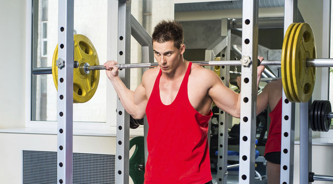 barbell squat at rack