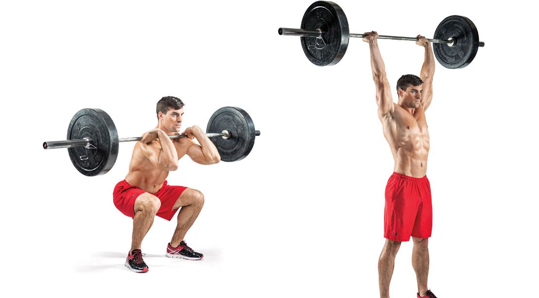 Man performing barbell thruster with red pants