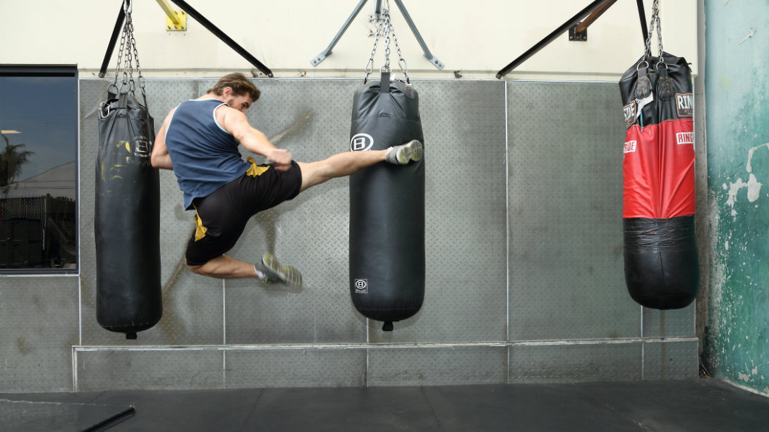 flying kick heavy bag