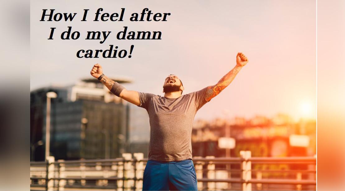 Man celebrating cardio