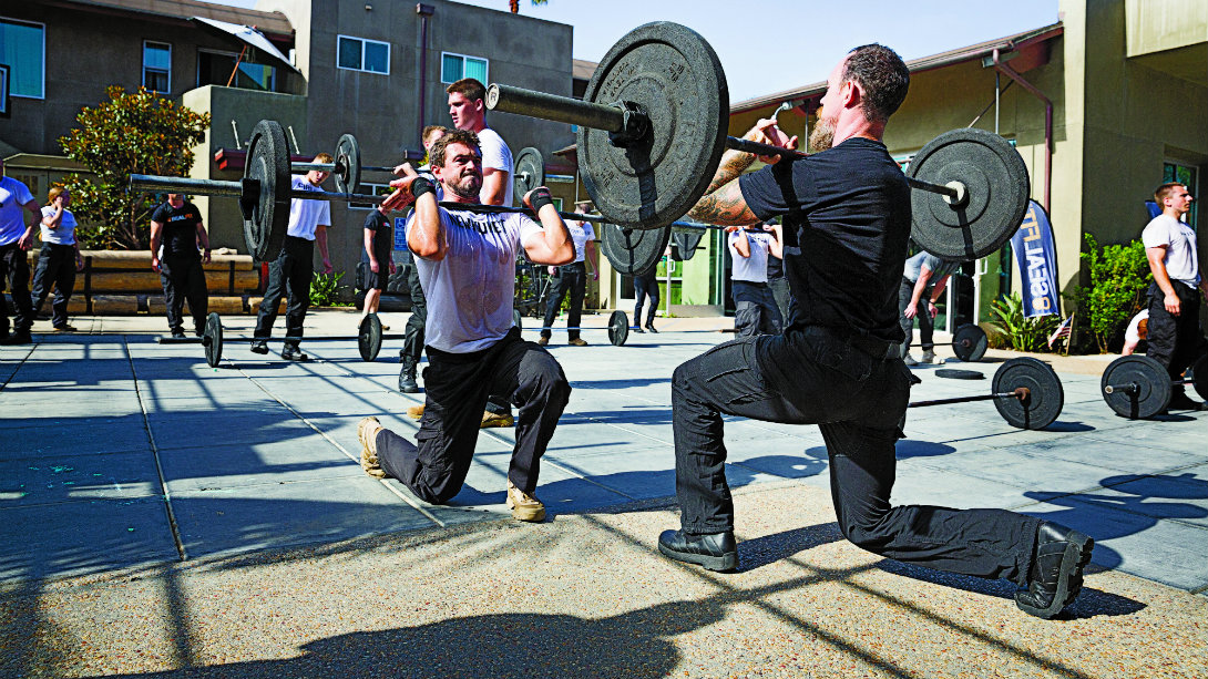 Navy SEAL barbell lunge
