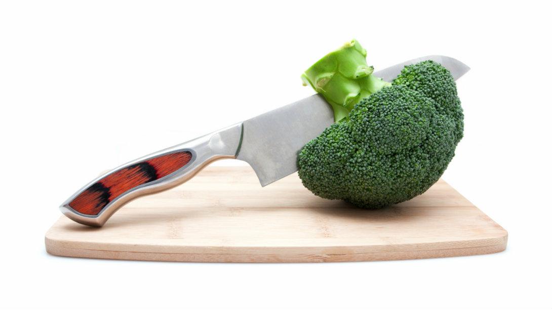 broccoli on cutting board