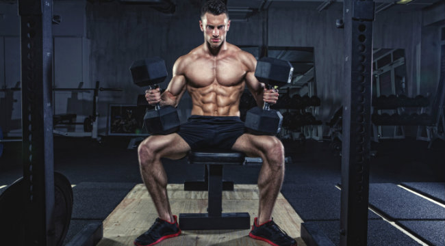 dumbbell bench press at gym