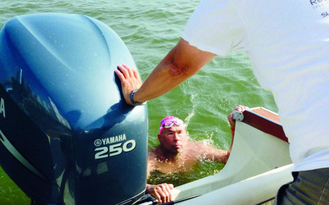 Endurance athlete Doug McConnell in ocean