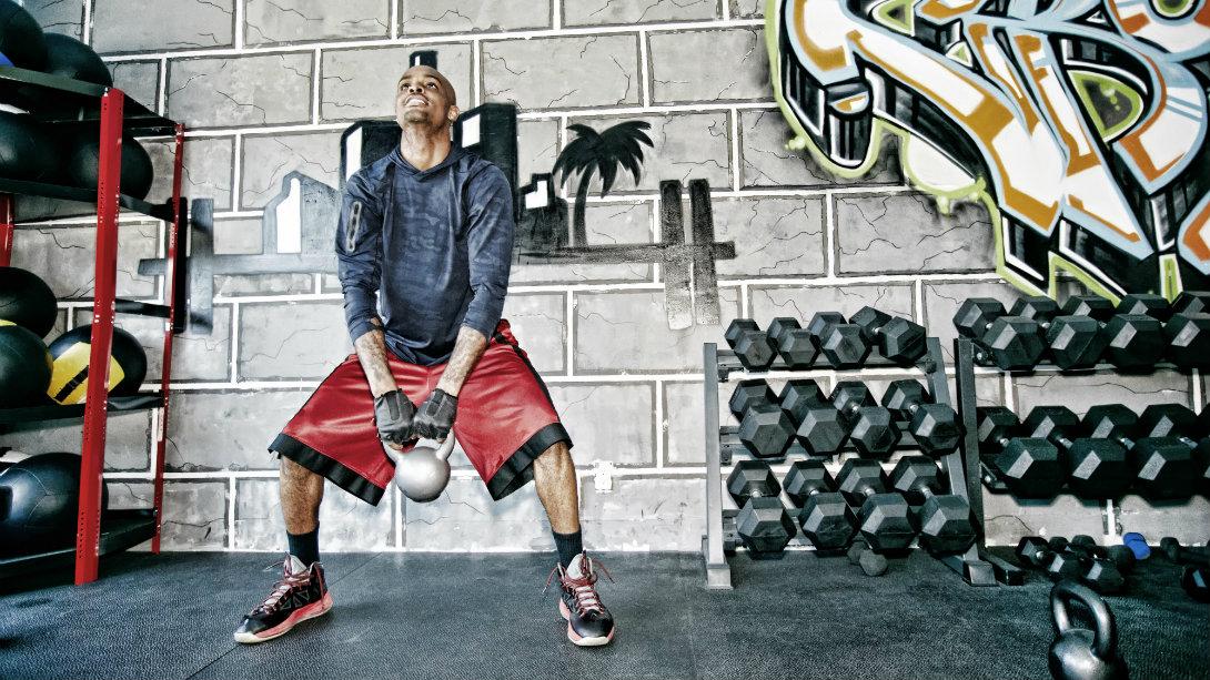 kettlebell swing in gym