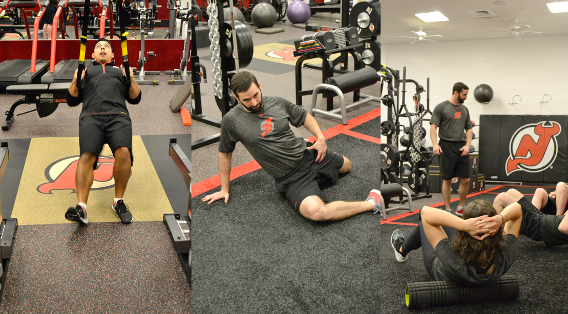 New Jersey Devils Trainers Display Proper Exercise Form And Stretching.