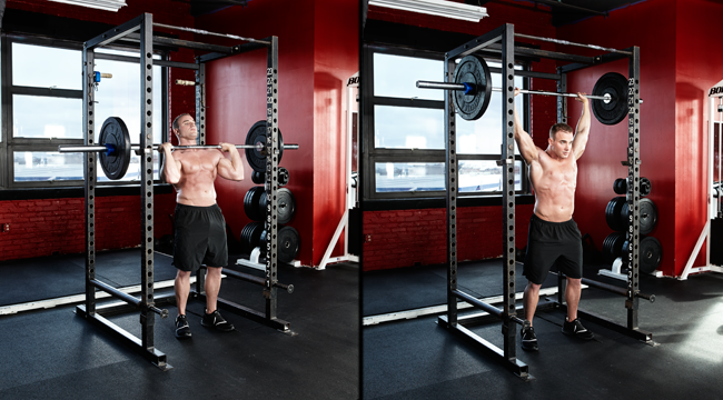 overhead barbell press