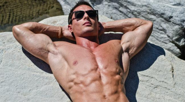 bodybuilder relaxing