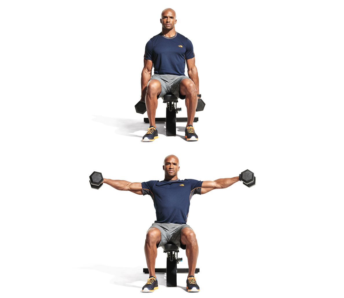 seated dumbbell lateral raise main - Latihan Ampuh Bentuk Otot dalam 4 Minggu !