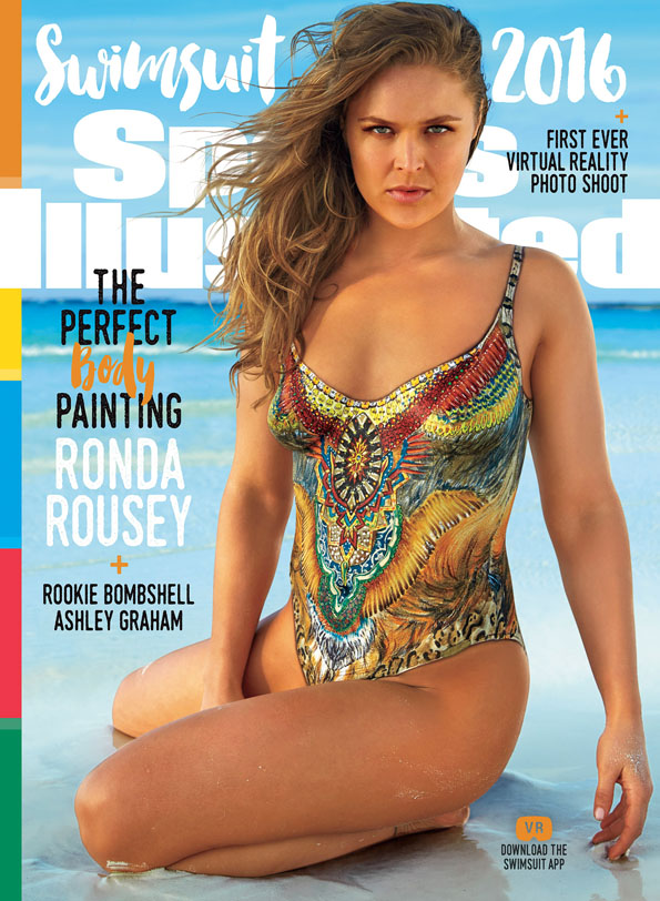 Ronda Rousey poses on the cover of the 2016 Sports Illustrated Swimsuit issue. Frederic Pinet/Sports Illustrated