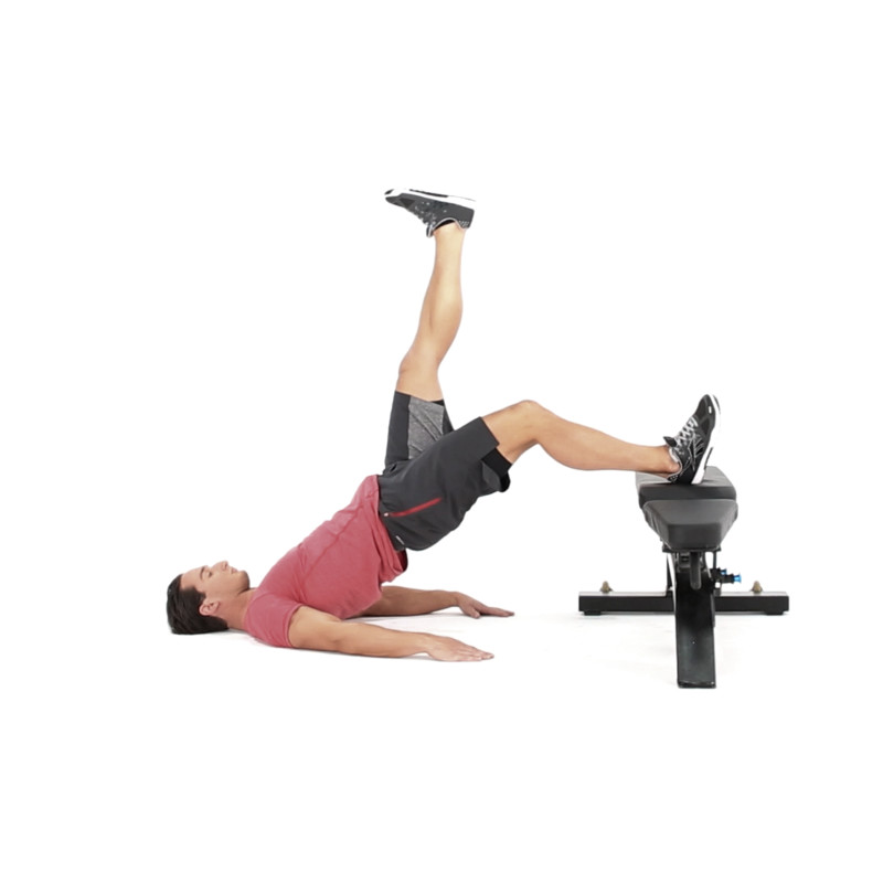 Single-Leg Hip Raise with Foot on Bench Video