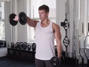 Alternating front raise with dumbbells thumbnail