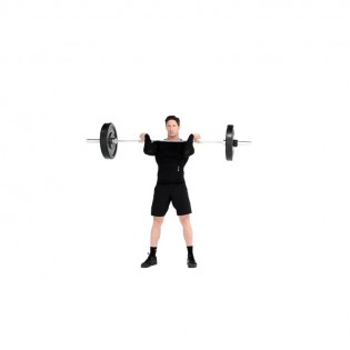 Stand Tall In A Shoulder Width Stance With Feet Pointed Out. Rest Barbell  On Top Of Chest. Use An Overhand Grip To Securely Hold Bar With Fingers.