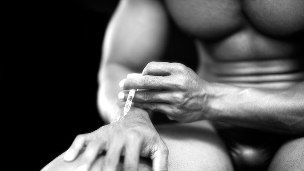 Bodybuilder-Injecting-Steroids- BW thumbnail