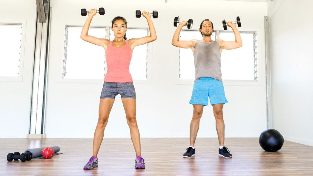 Couple-Working-Out-Exercise-Dumbbell-Overhead-Press thumbnail