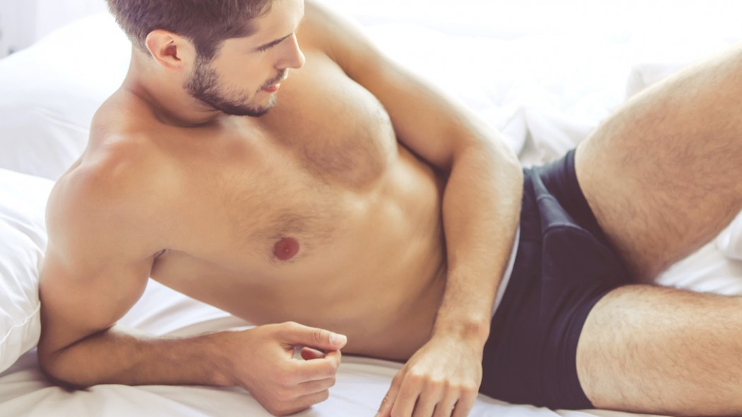 Male-Model-Laying-In-Bed-In-Underwear thumbnail