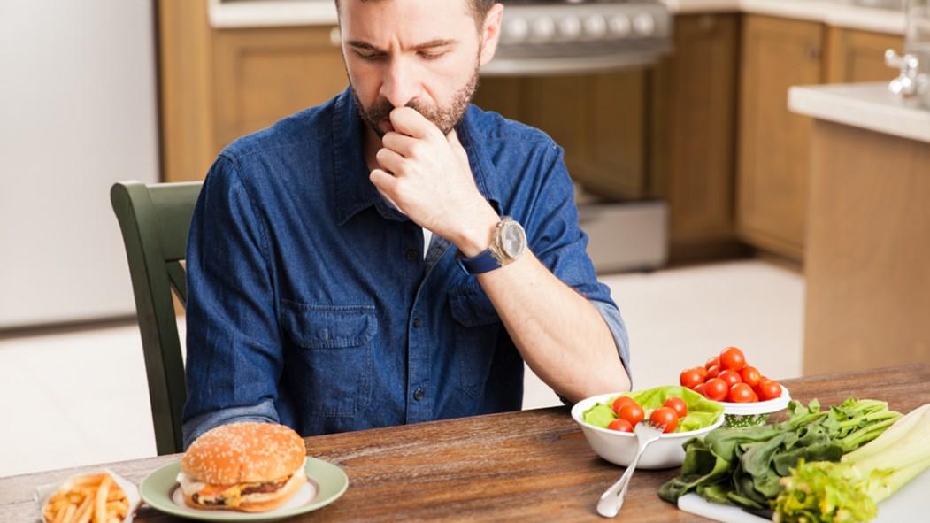 Man-Making-Dietary-Decisions-Burger-Salad thumbnail