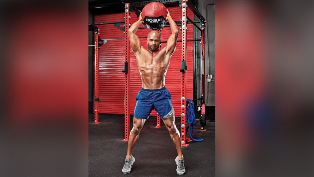 Man performing medicine ball slam thumbnail