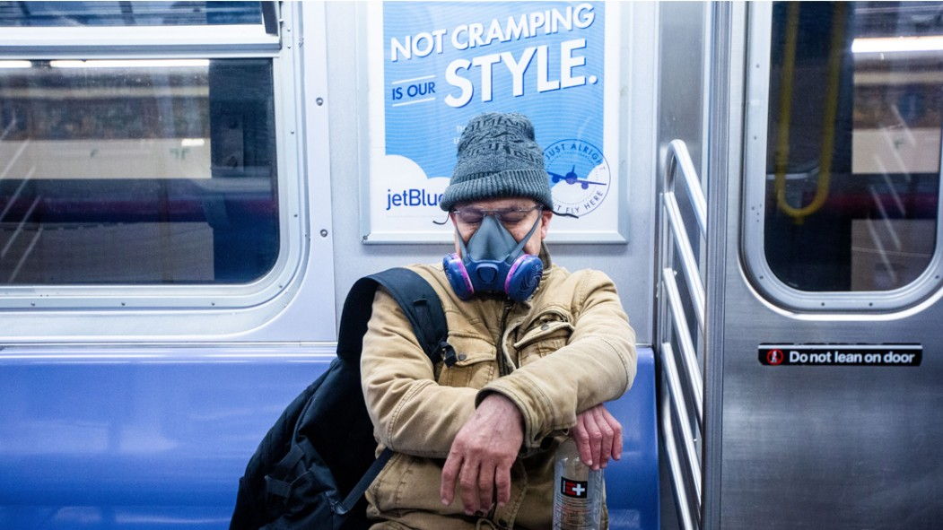 New Yorker Wearing Face Mask Riding The MTA Subway During Coronavirus Pandemic thumbnail