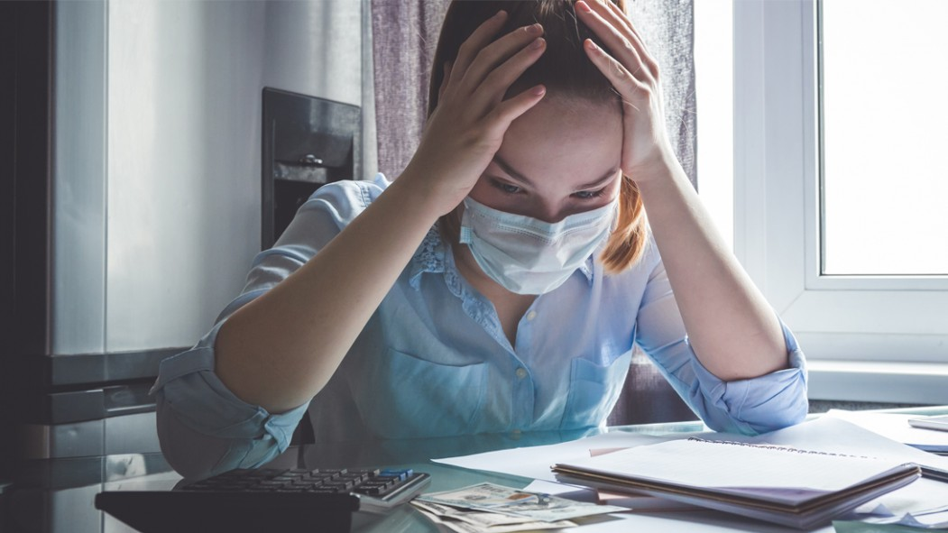Stressed-Out-Coronavirus-Female-Working-With-Face-Mask thumbnail