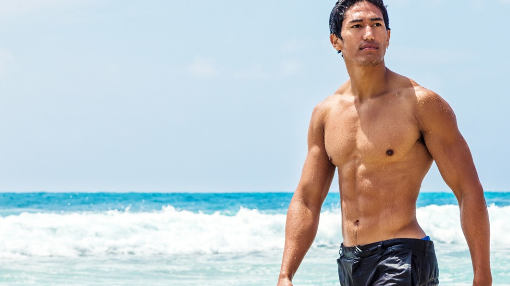 Wet-Muscular-Asian-Male-In-Ocean thumbnail