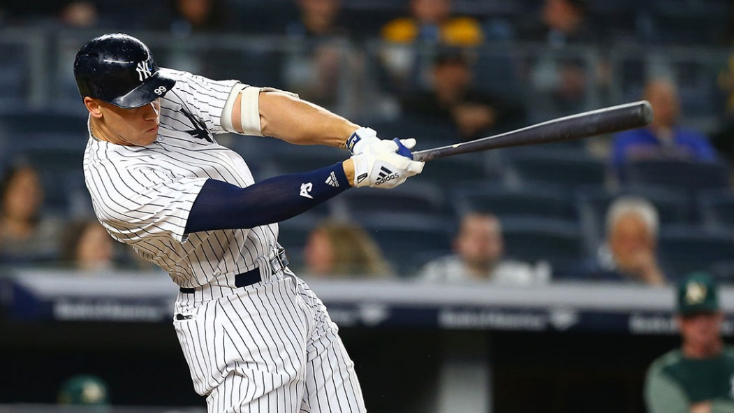 Aaron Judge #99 of the New York Yankees in action against the Oakland Athletics at Yankee Stadium on May 11, 2018 in the Bronx borough of New York City. Oakland Athletics defeated the New York Yankees 10-5.  thumbnail