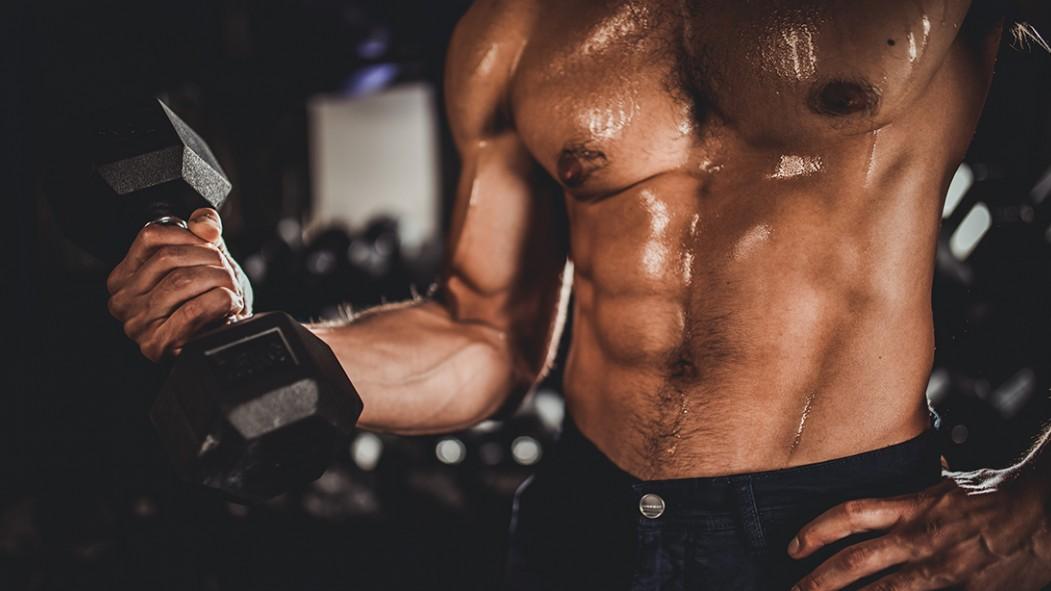 One man, shirtless man training with dumbbells thumbnail