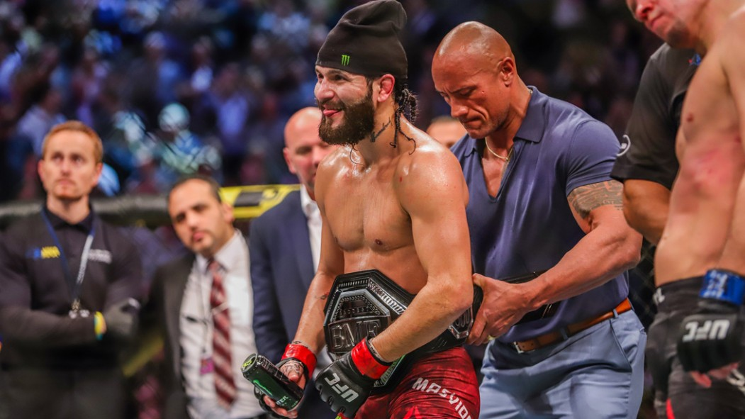 Dwayne Johnson Places the UFC's BF Belt on Jorge Masvidal at UFC 244 thumbnail
