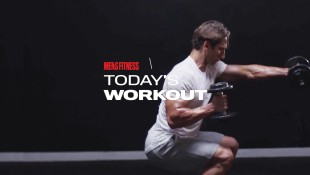 Man Performs Dumbbell Squat Punch Exercise During Workout thumbnail