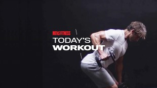 Man Does Alternating Dumbbell Row Exercise During Chest Workout thumbnail