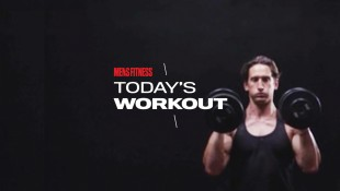 Man Does Dumbbell Curl And Press Exercise thumbnail
