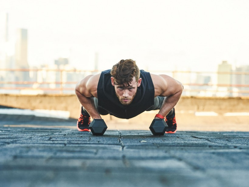 dumbbell pushup row