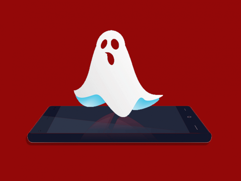 Cartoon Image Of A Ghost Floats Over Smartphone Screen