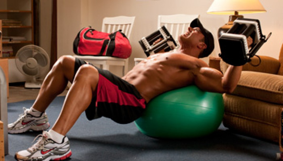 Body Position Set Extension For Dumbbell Presses On The Ball