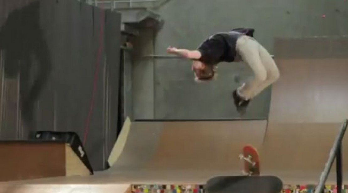 Skateboarder Adam Miller Executes High-Flying Jump