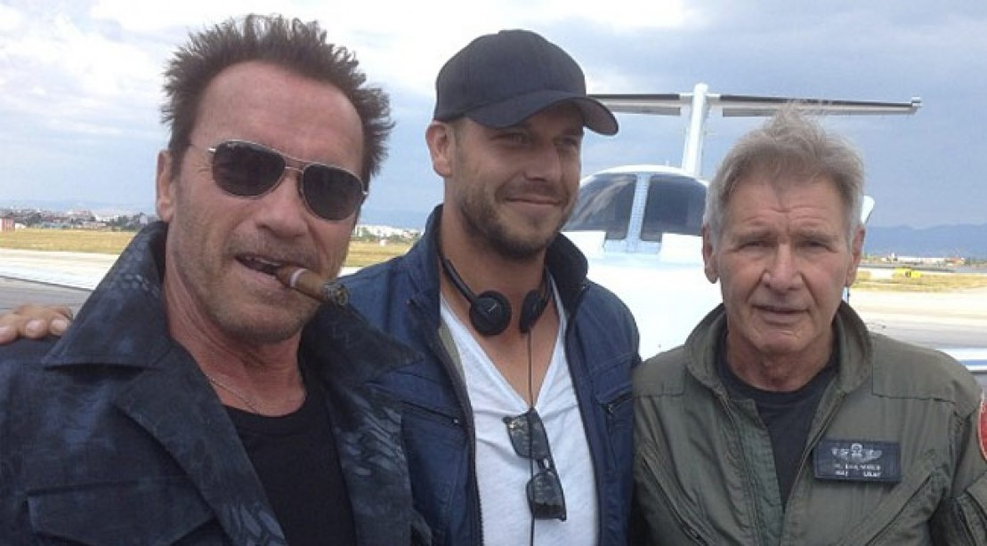 Arnold Teams Up With Harrison on 'Expendables 3' Set