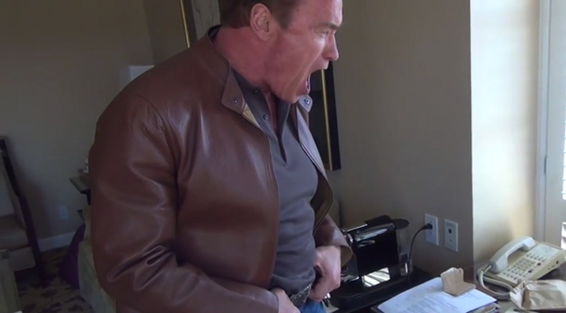 Arnold Schwarzenegger Tells Fan to Get to the Choppa!
