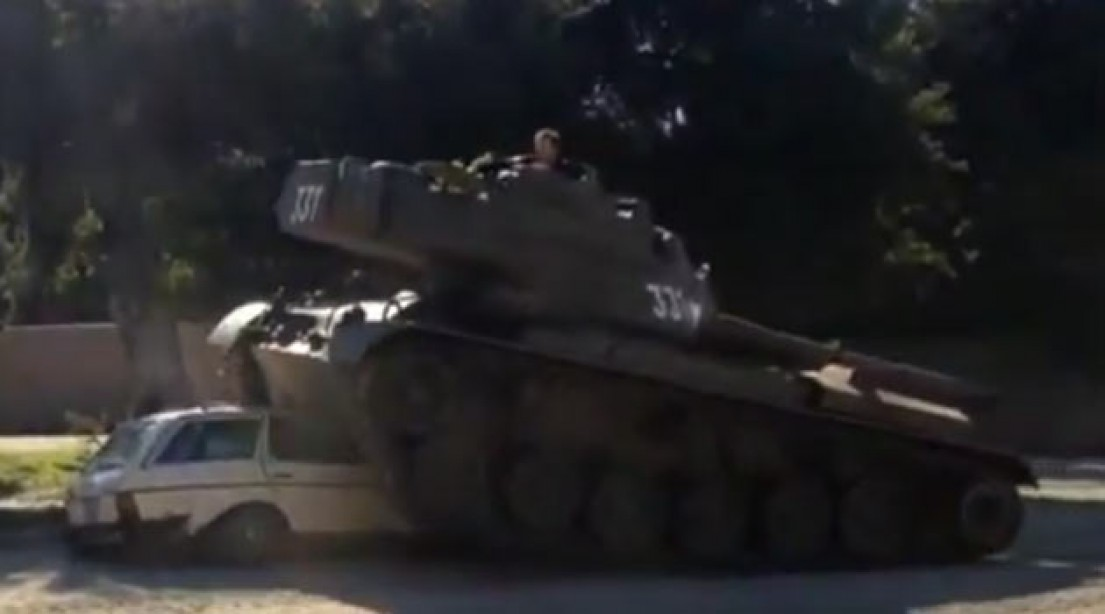 Arnold Rides His Tank to Promote 'The Last Stand'