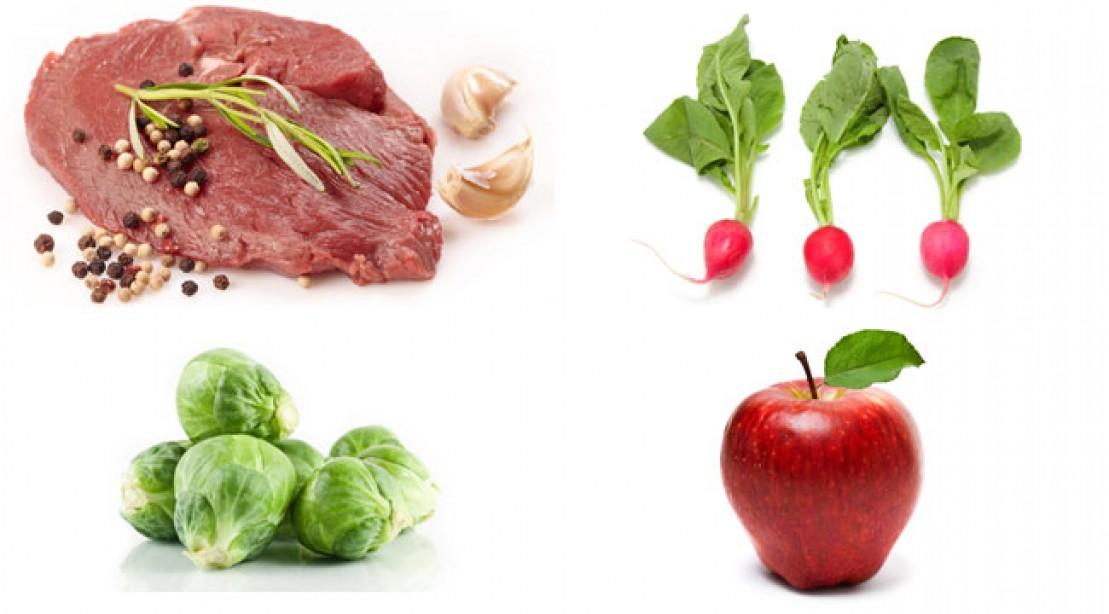 Lamb, apple, radish, brussels sprouts