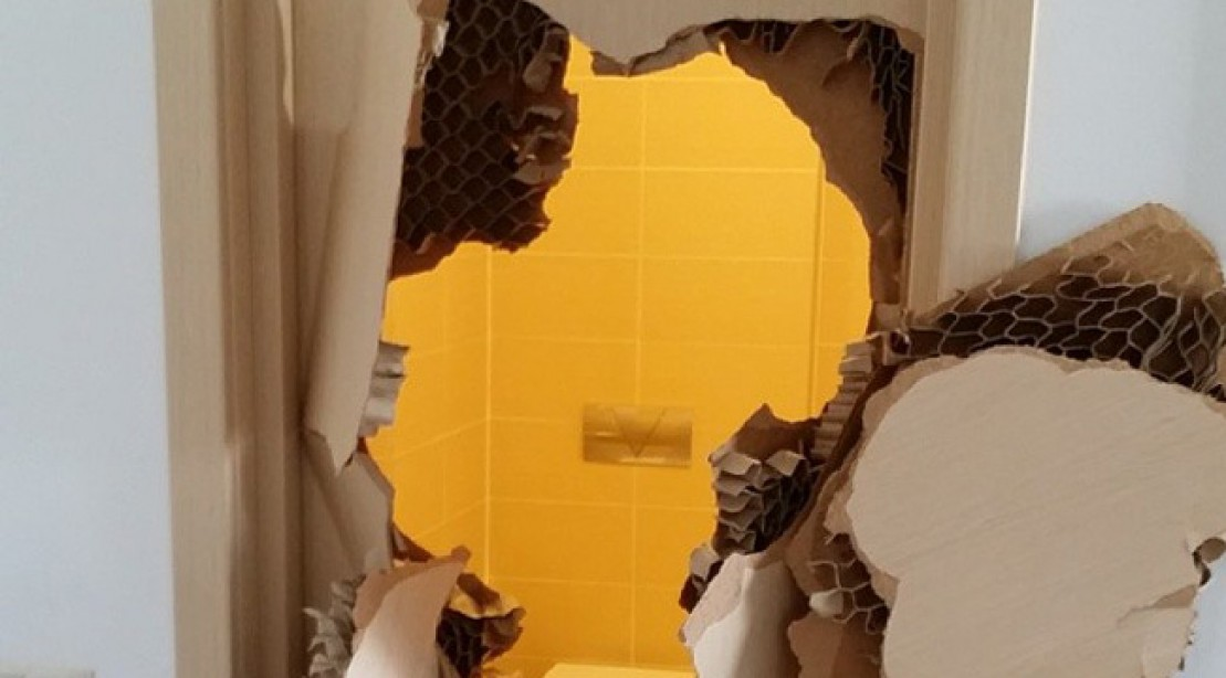 Olympian Johnny Quinn Smashes Bathroom Door in Sochi