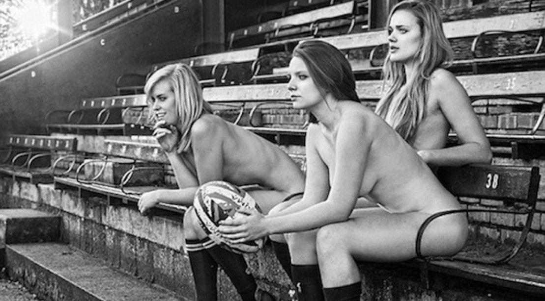 Female Rugby Players Strip for Charity