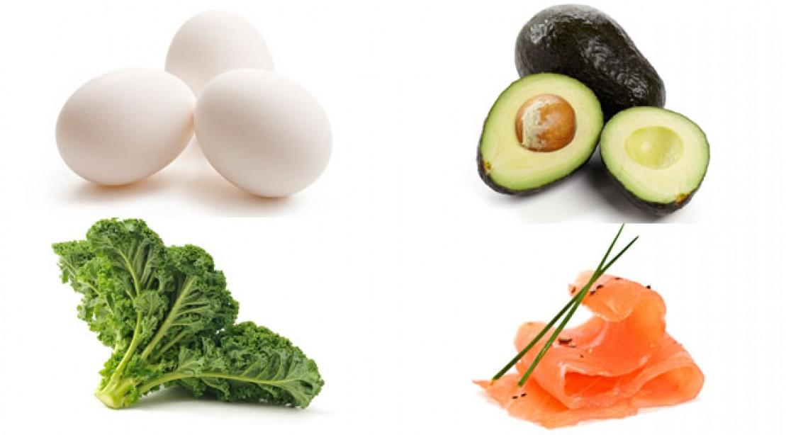 Eggs, kale, avocado, salmon