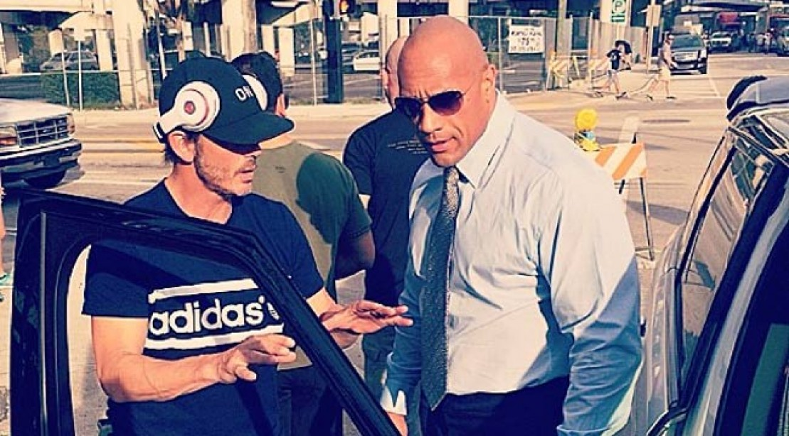 "The Rock and Peter Berg on the set of the pilot episode of ""Ballers."""