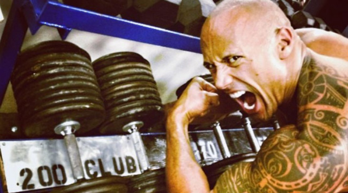 The Rock Working Oug in the Gym