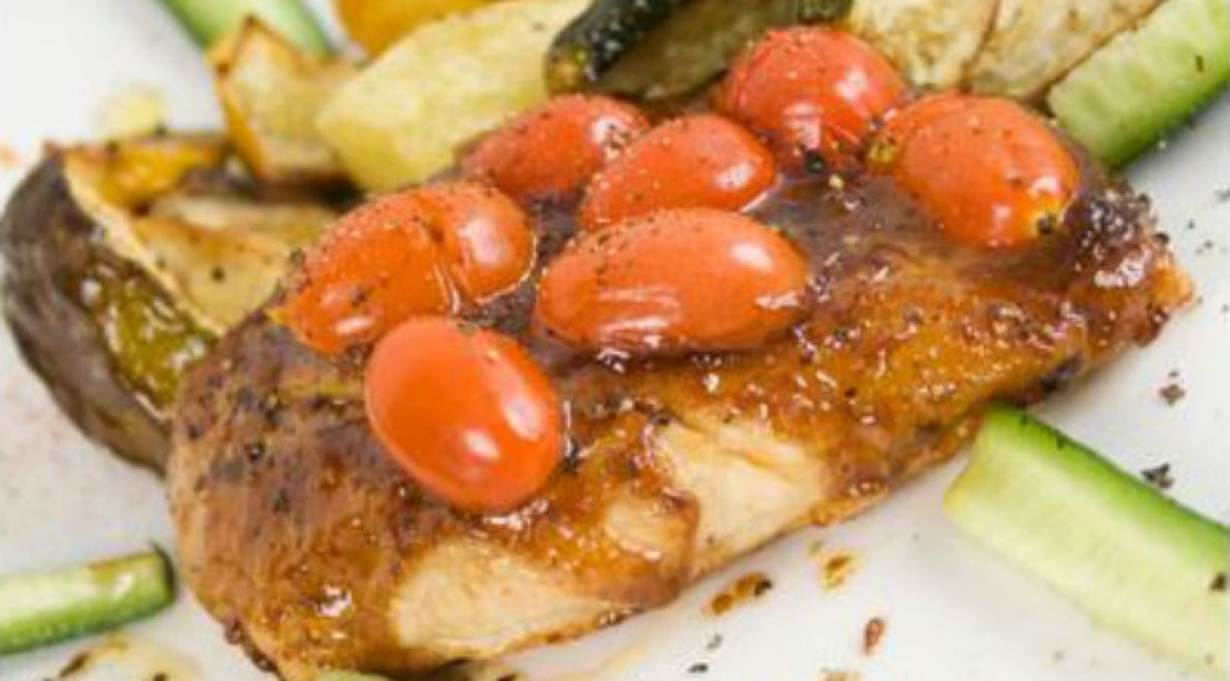 Balsamic Roast Chicken Breast With Cherry Tomatoes