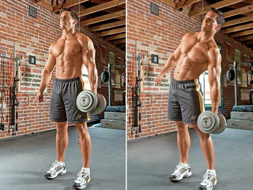 oblique exercises: dumbbell side bend