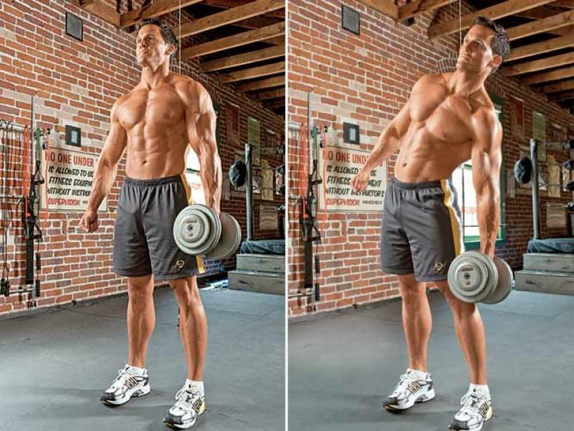 oblique exercises: dumbbell side bend