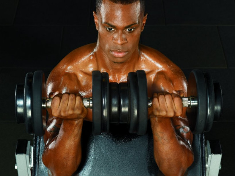 Dumbbell Preacher Curls With A Crush Grip