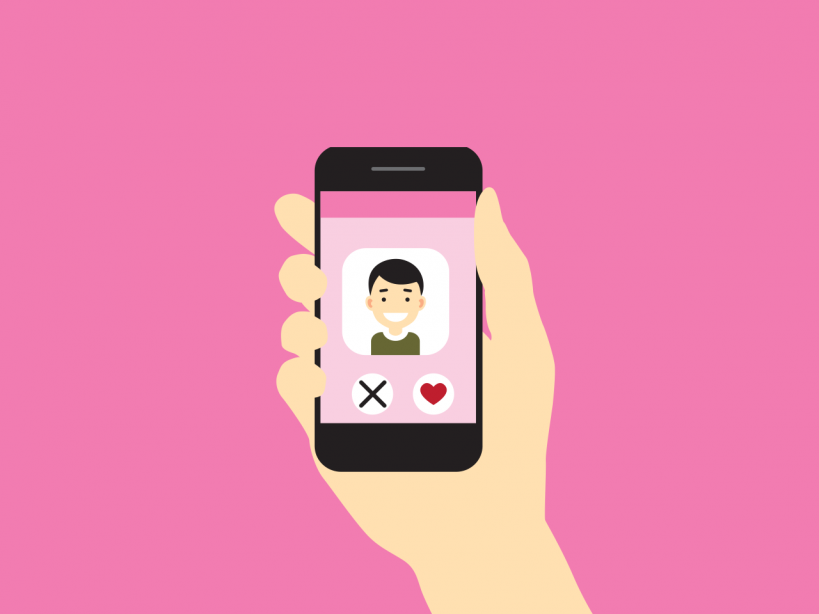Dating Application Screen On Isolated Pink Background